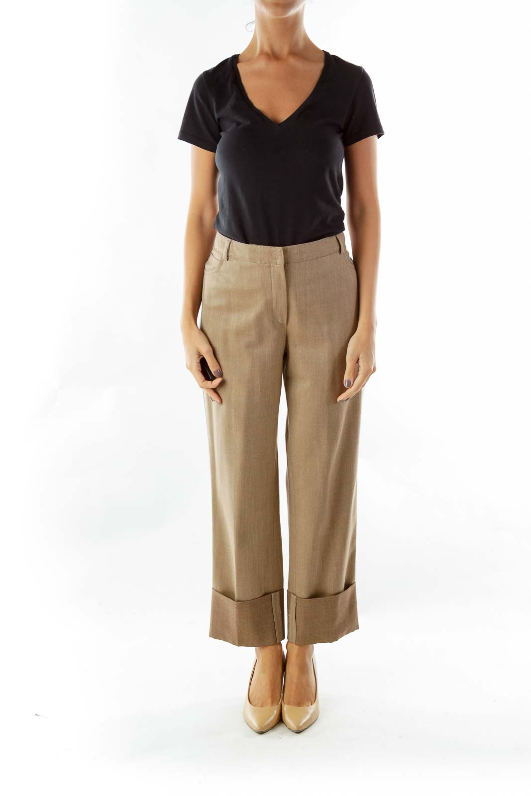 Brown Pocketed Straight-Leg Pants