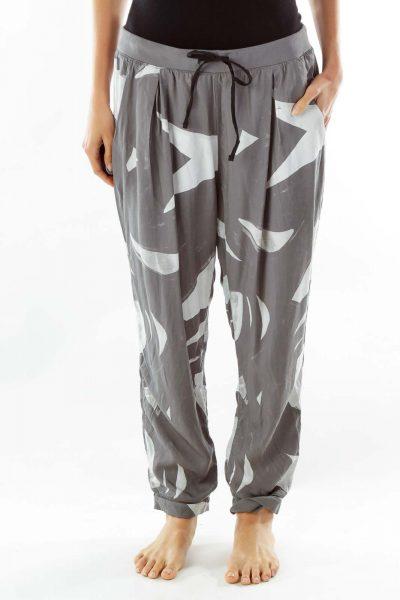 Gray White Print Loose Pants