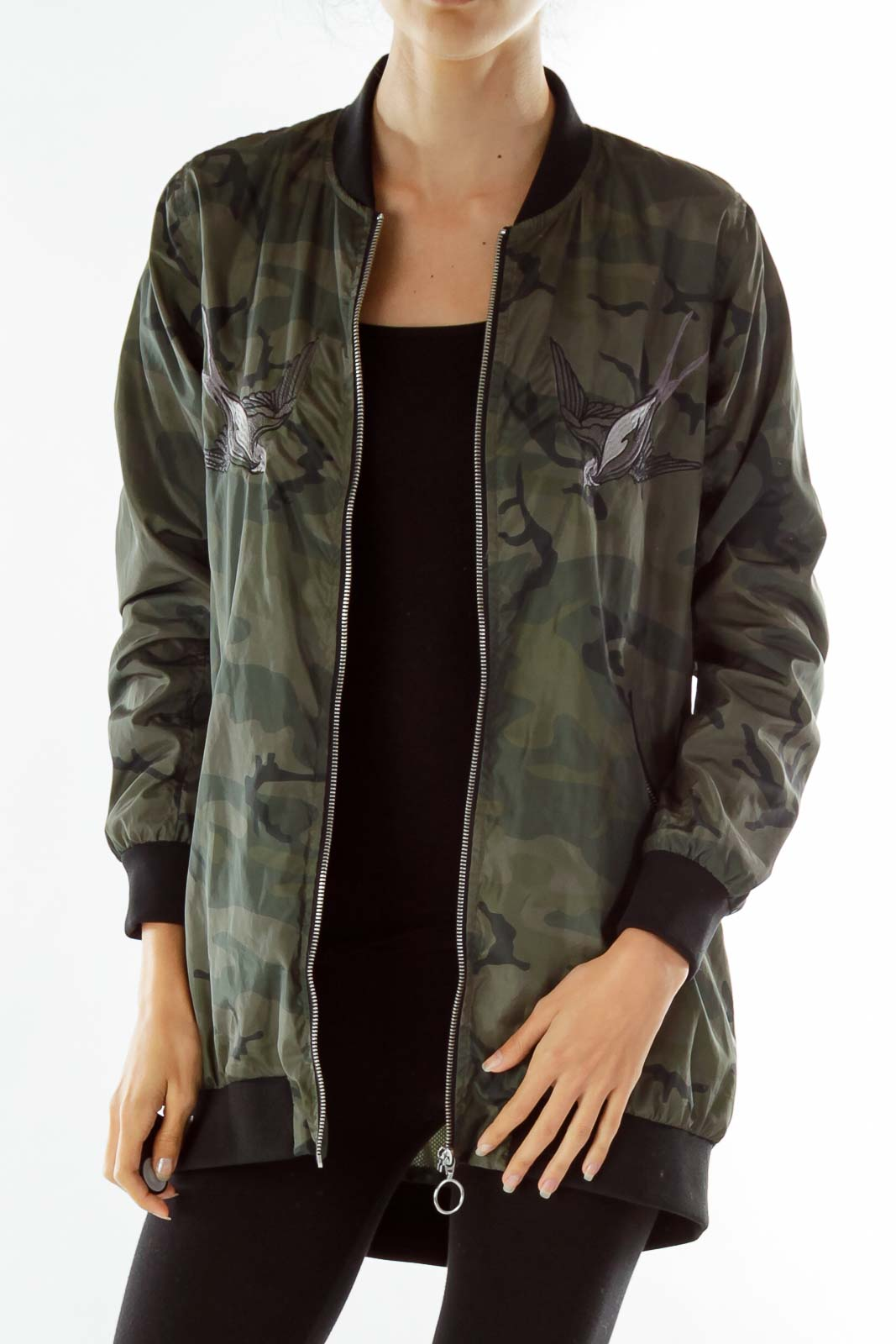 Green Print Embroidered Bomber Jacket