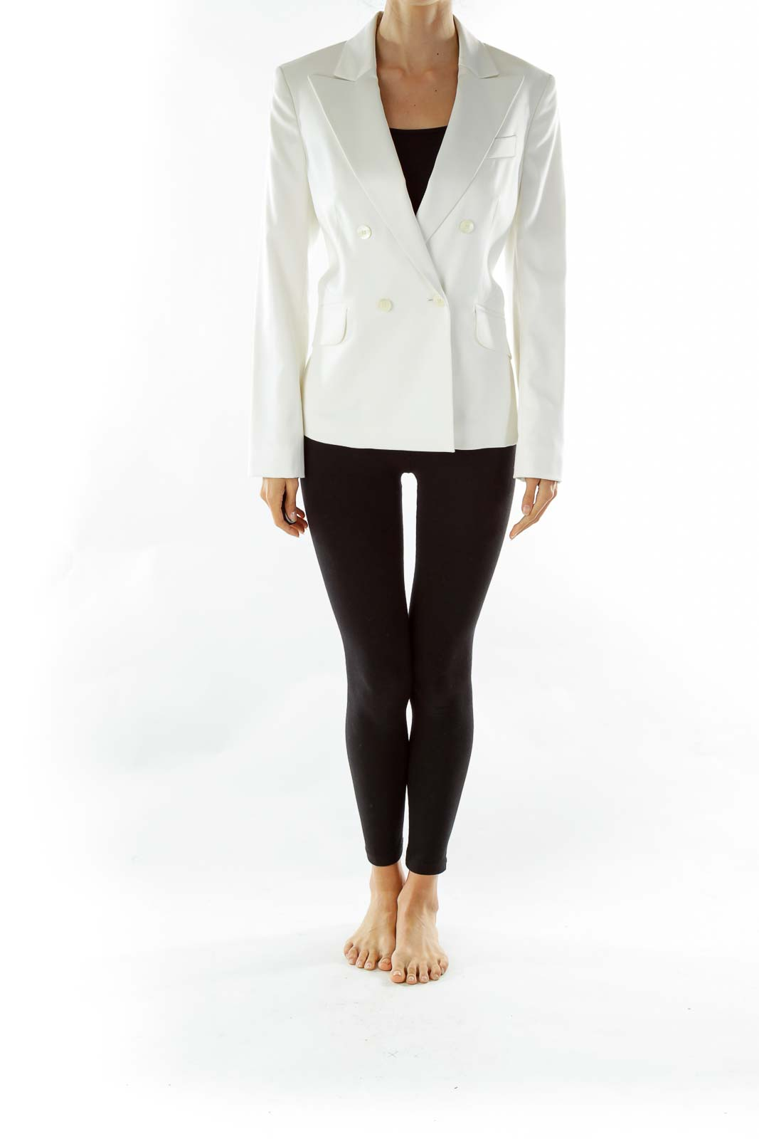 White Faux-Satin Double-Breasted Suit Jacket