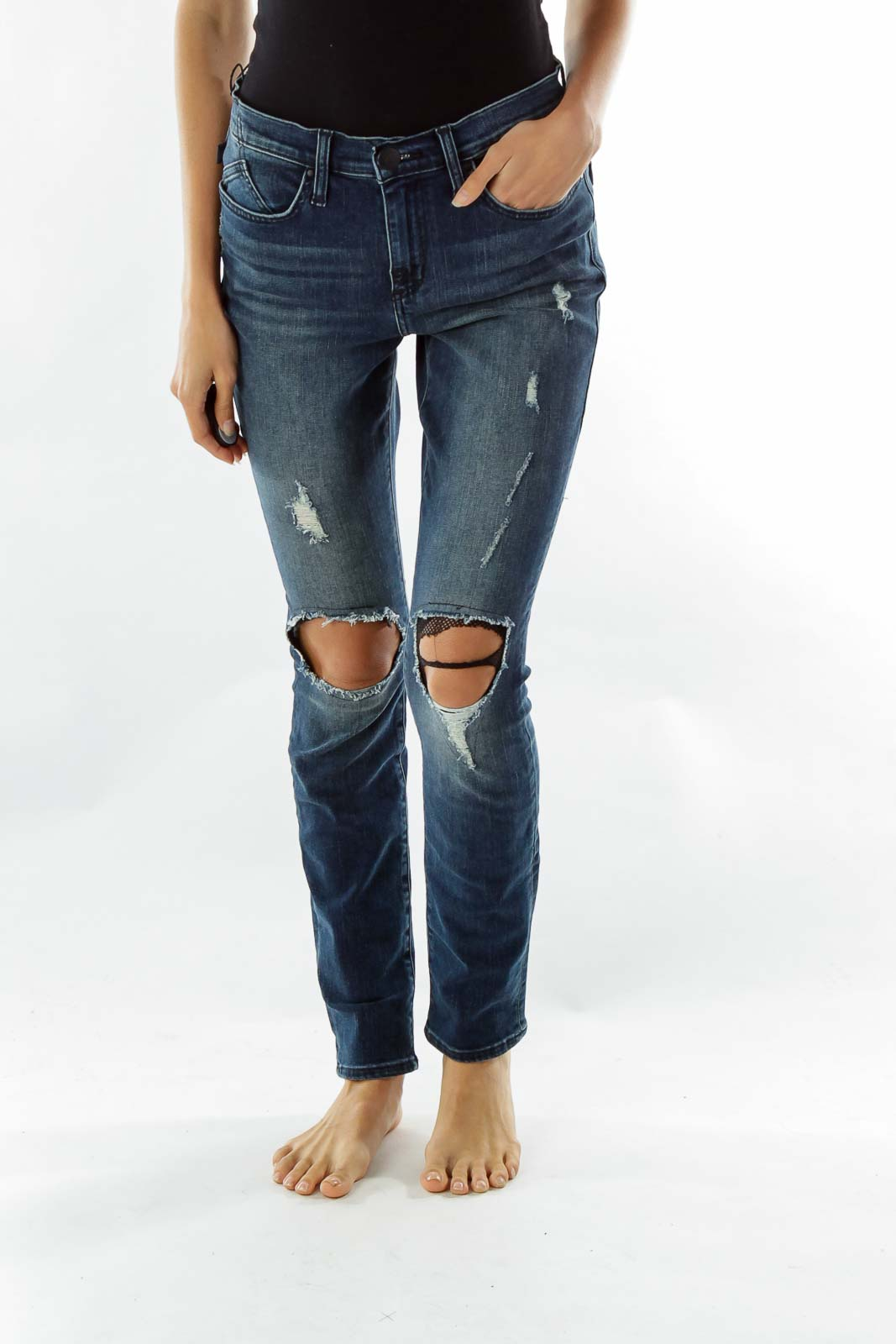 Navy Distressed Skinny Jeans