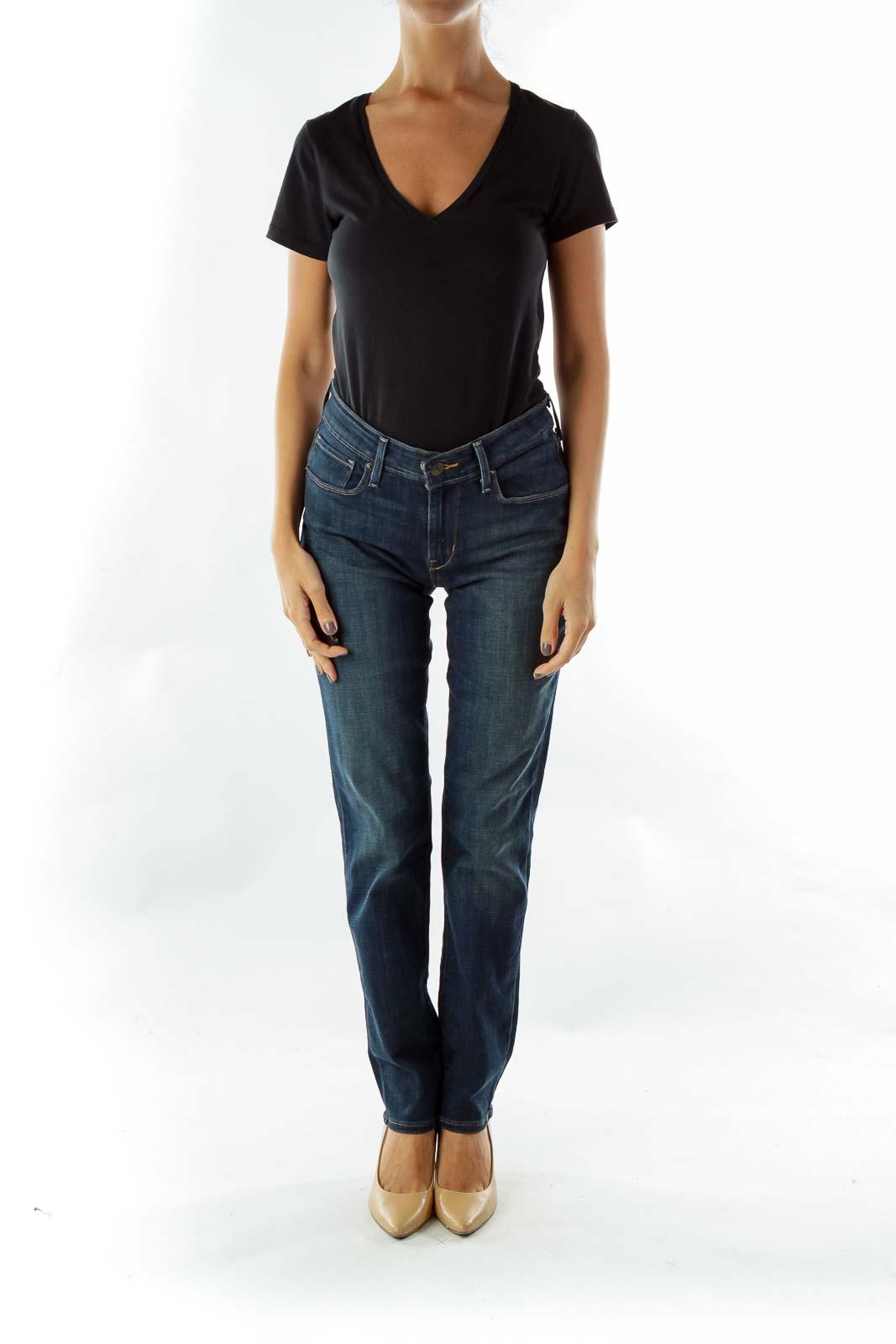 Navy Mid-Rise Straight-Leg Jeans
