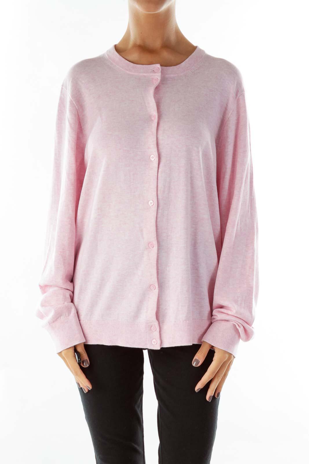 Baby Pink Round-Neck Cardigan