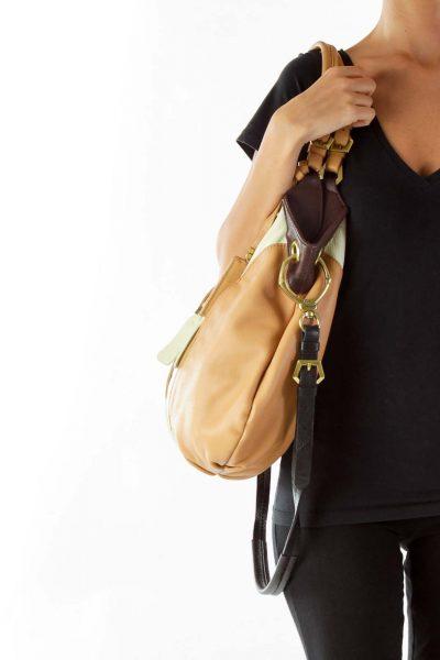 Cream Brown Genuine Leather Shoulder Bag