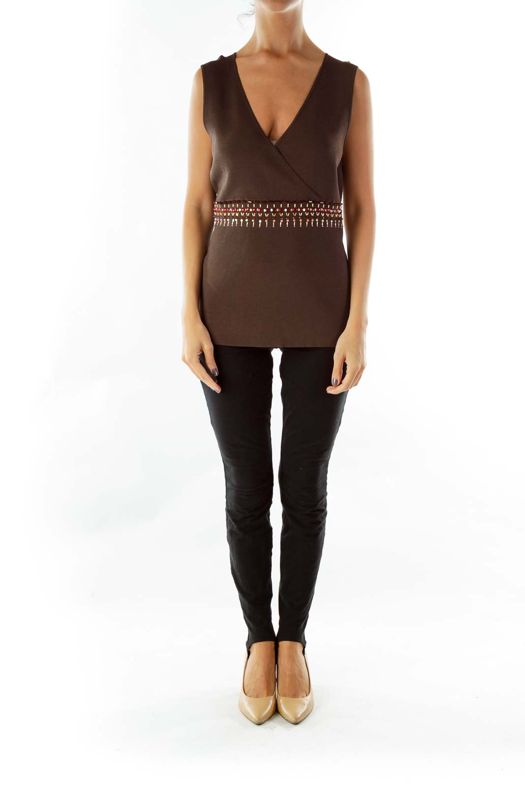 Brown V-neck Jeweled Knit Vest