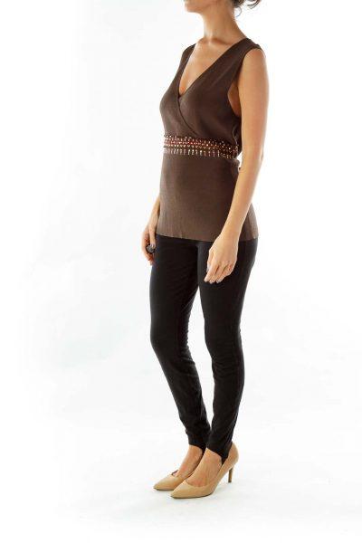 Brown V-neck Jeweled Knit Vest