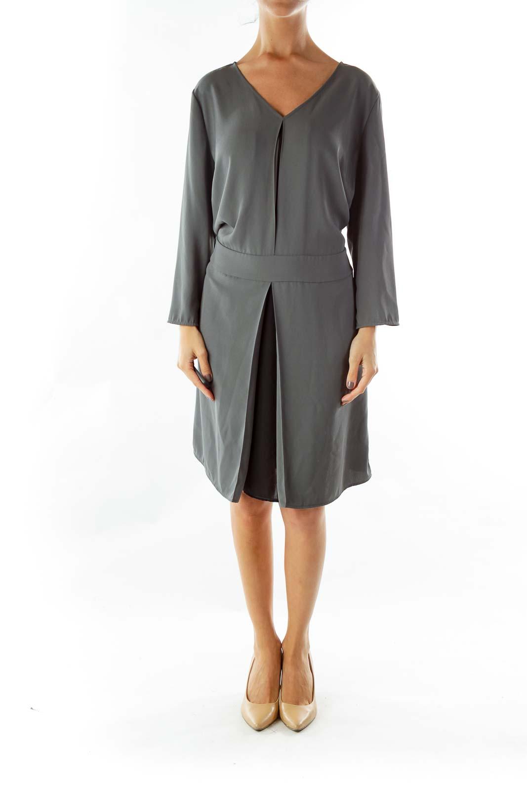 Green Black Slitted Dress
