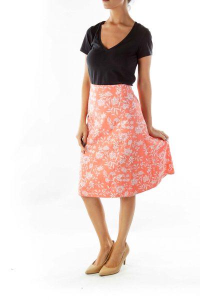 Orange White Linen Flower Flared Skirt