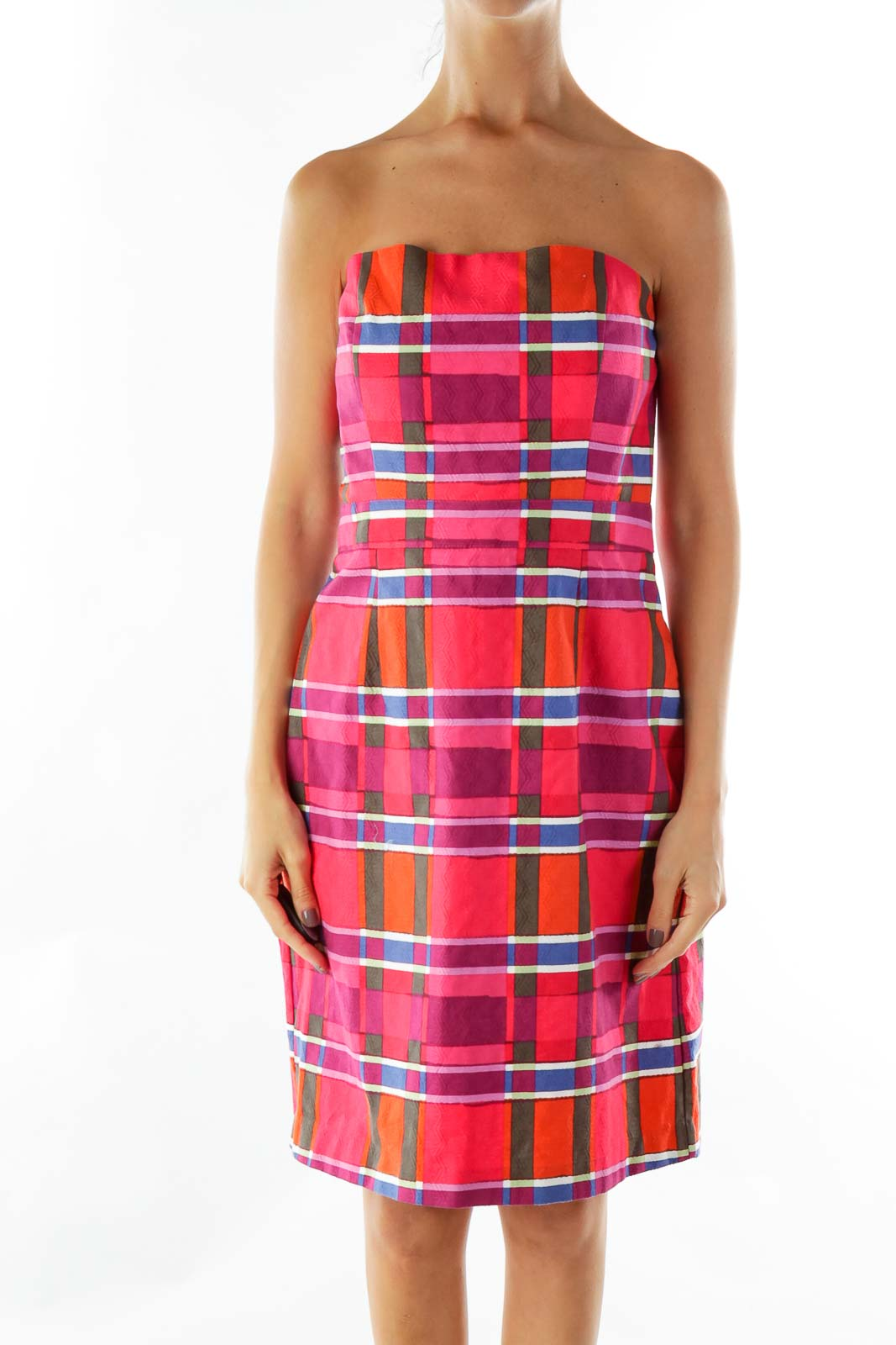 REd Multicolor Embossed Patchwork Print Dress