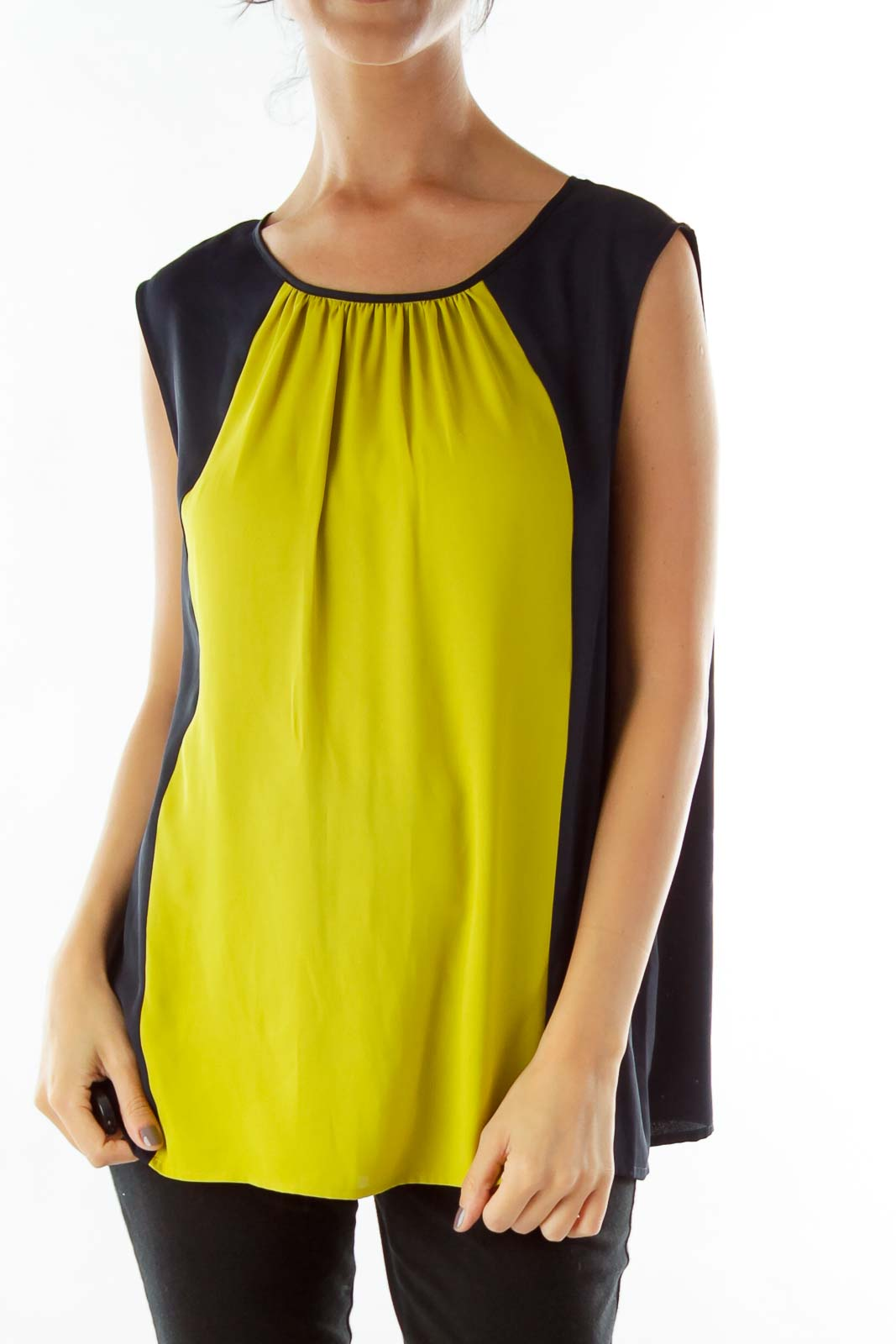 Black Yellow Sleeveless Blouse
