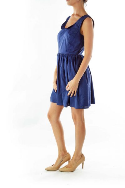 Blue Collared Flared Sleeveless Dress