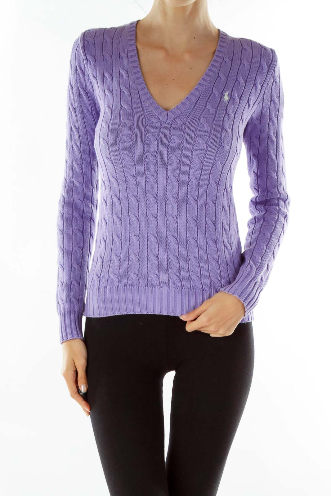 Purple Cable-Knit V-Neck Sweater