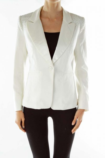 Cream Studded Collared Blazer