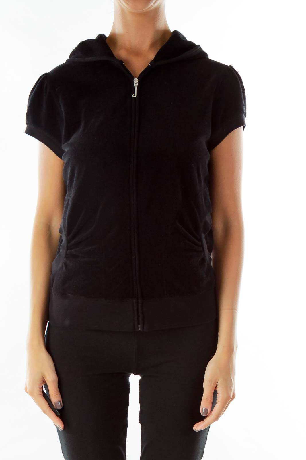 Black Hooded Short-Sleeve Jacket