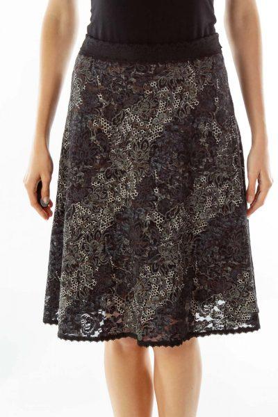 Black White Lace Embossed Print Skirt