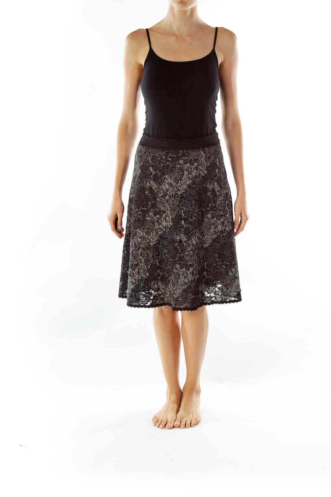 Black White Lace Embossed Print Skirt