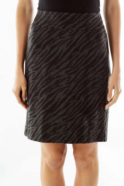 Gray Black Animal Print Pencil Skirt