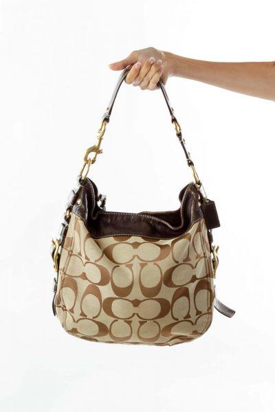 Brown Monogrammed Metallic Leather Bag