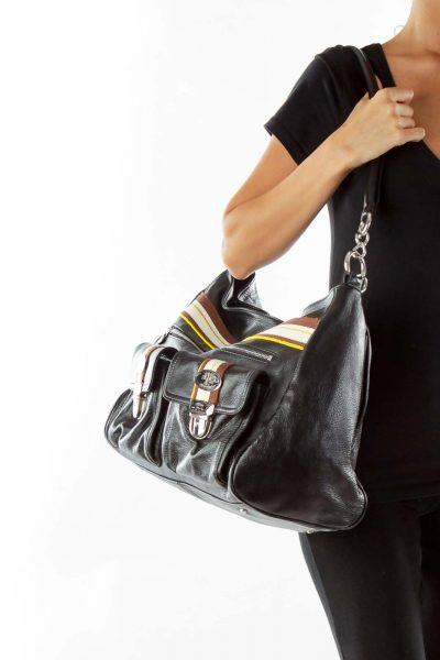 Black Brown Striped Shoulder Bag