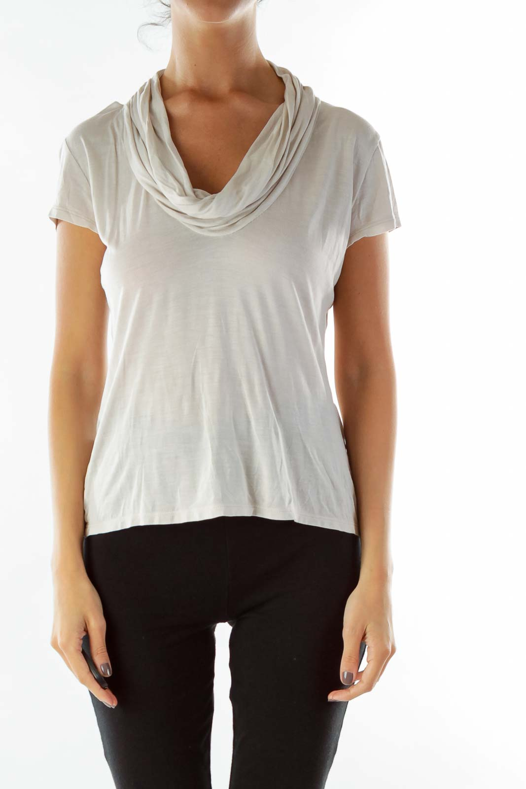 a4b1f4c24c03d0 Cream Loose Cowl Neck T-Shirt ...