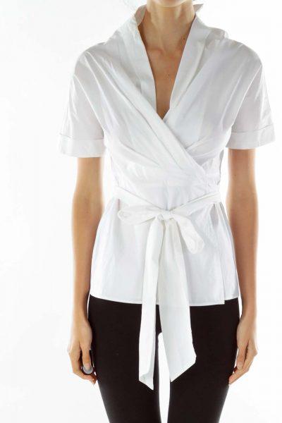 White Oversized Wrap Shirt
