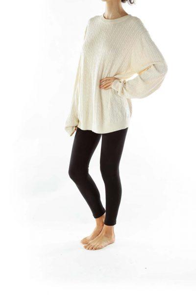 Cream Woven Merino Wool Sweater