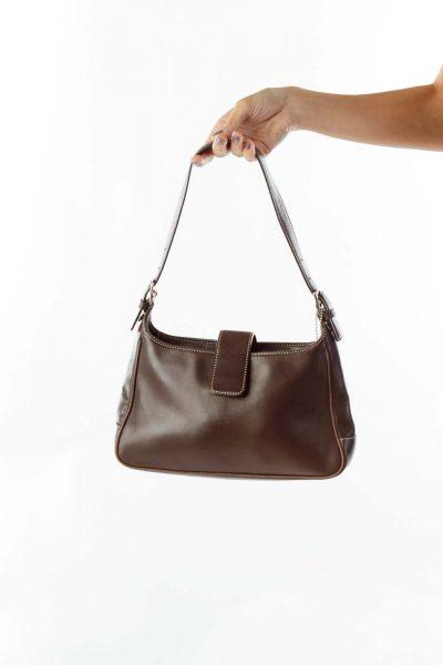 Brown Stitched Shoulder Bag
