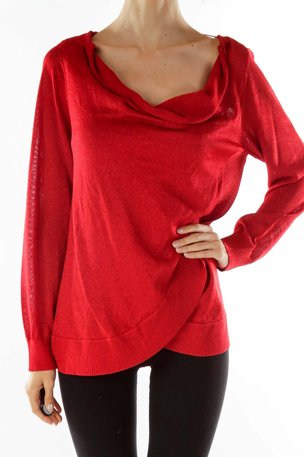 Red Shimmery Knit Top