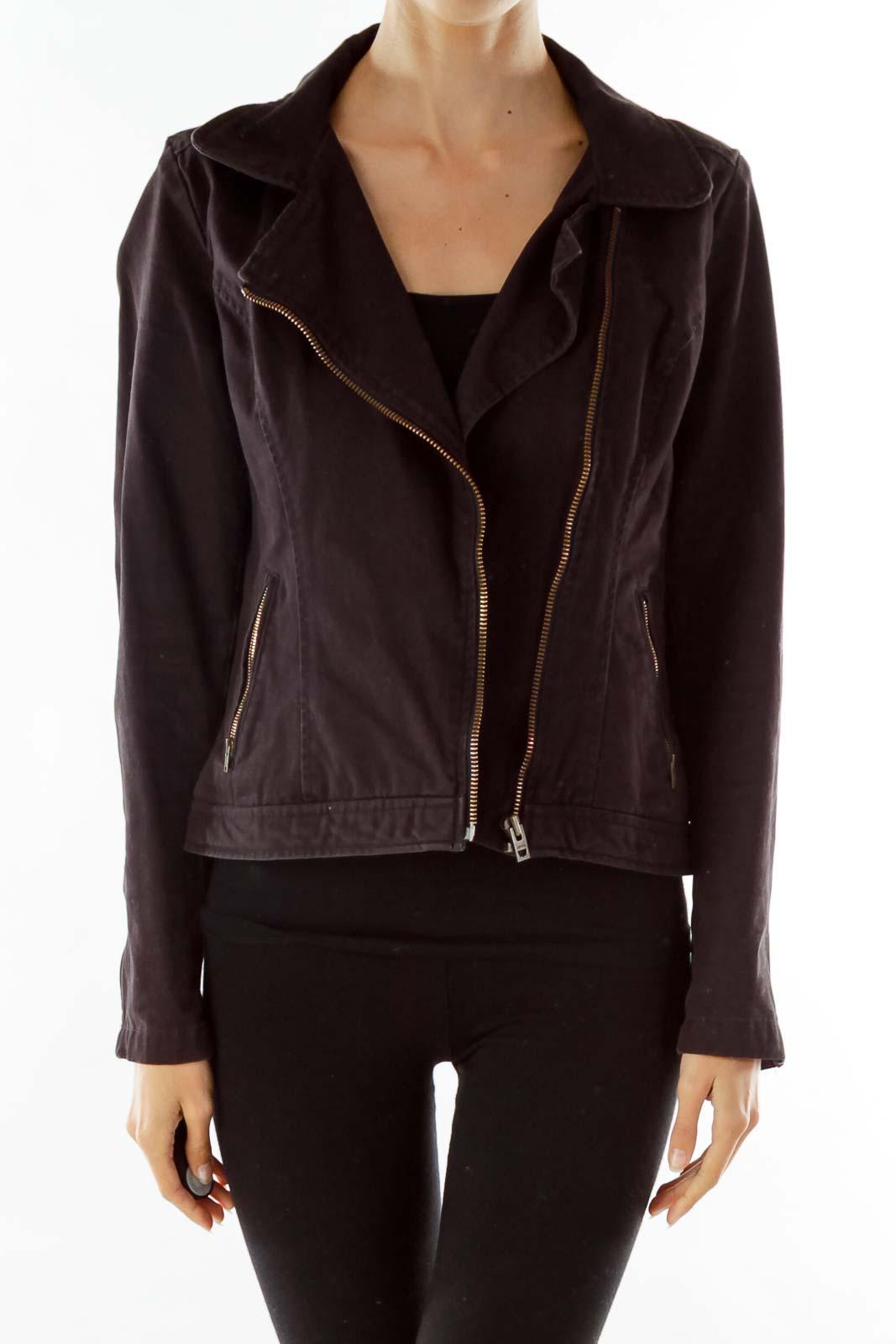 Brown Vintage Collared Zippered Denim Jacket