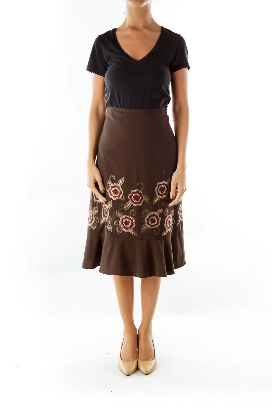 Brown Embroidered Flared Skirt