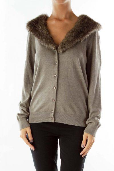 Gray Faux-Fur Cardigan