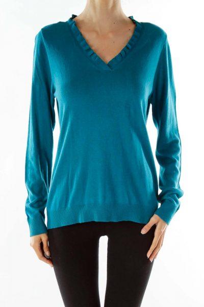 Green Ruffled Collar V-neck Sweater