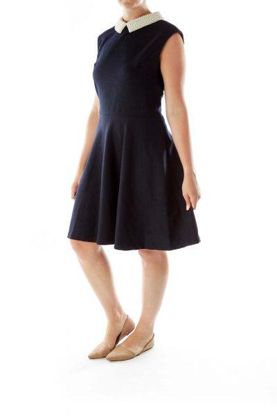 Black A-Line Dress w/ Pearled Collar