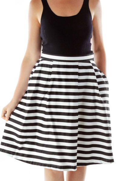 Black White Striped Flared Skirt