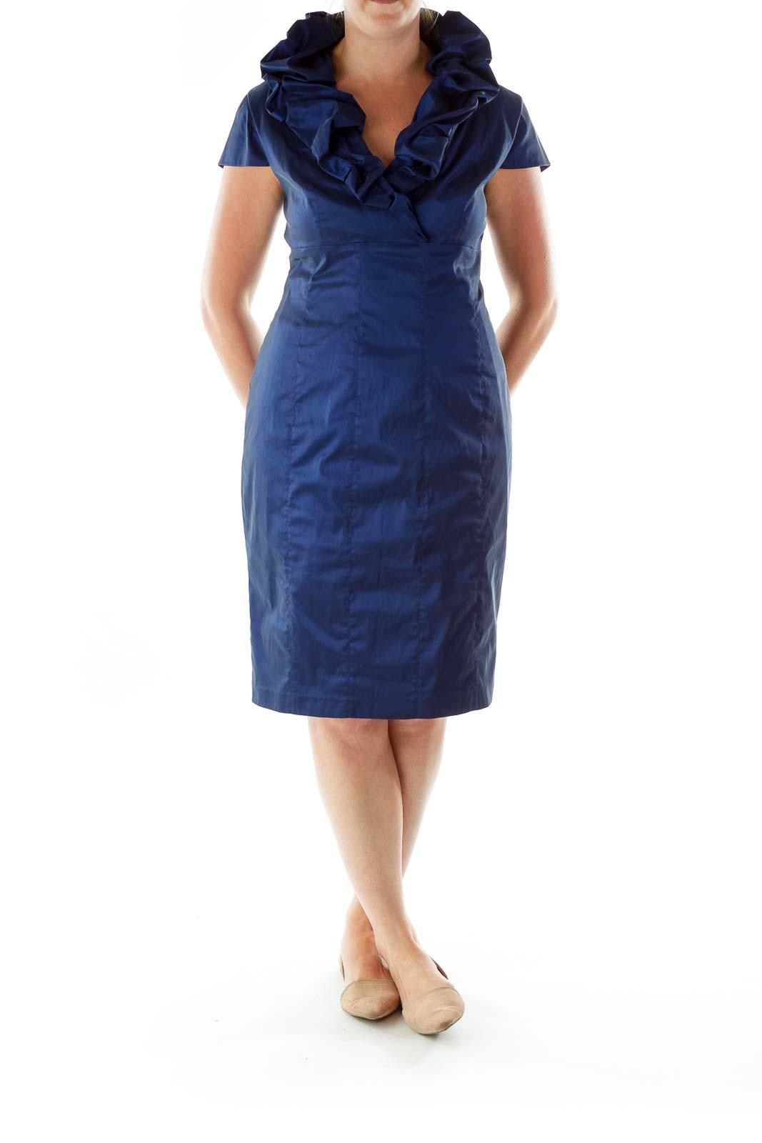 Blue Collared Evening Dress