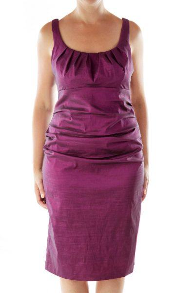 Purple Scrunched Sleeveless Evening Dress