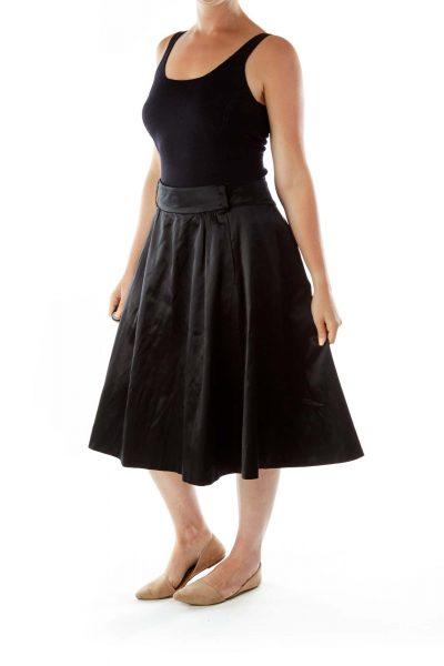 Black Flared Silk Skirt
