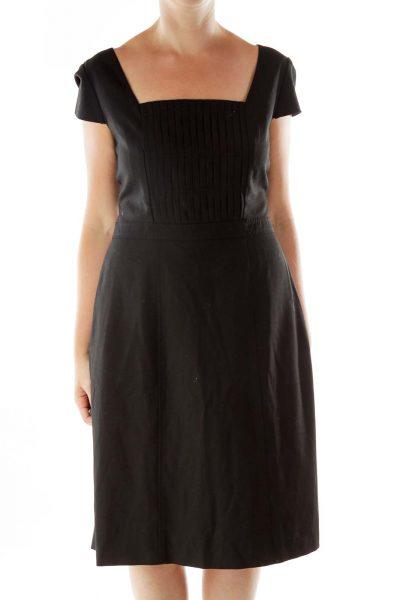 Black Bell Sleeve Structured Dress