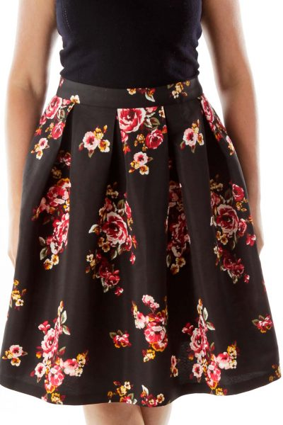 Black Red Flower Pleated Skirt