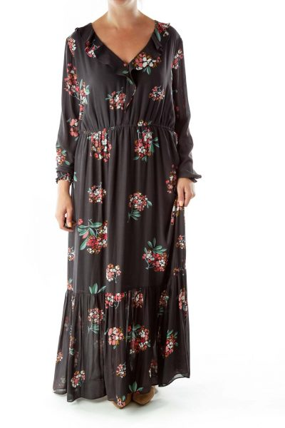 Gray Pink Flower Ruffled Maxi Dress
