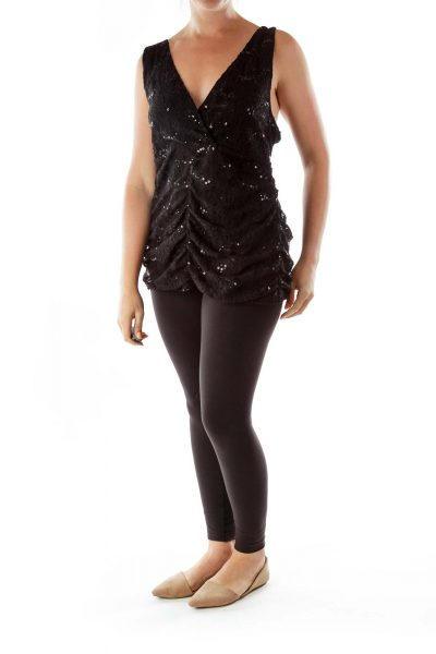 Black Sleeveless Beaded Embroidered Top