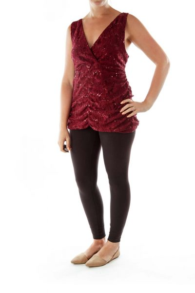 Burgundy Sequined Tank Top