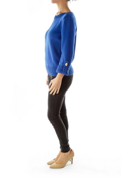 Blue Gold Buttoned Petite Sweater