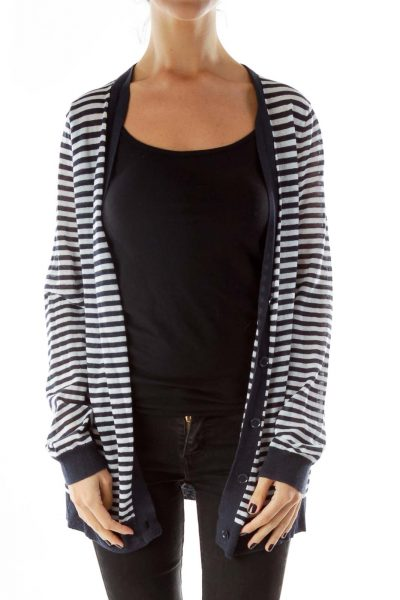 Navy White Striped Open Cardigan