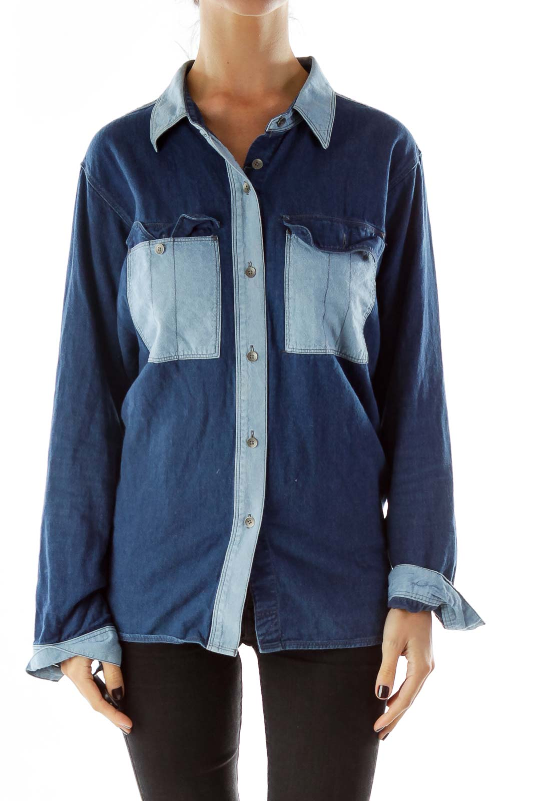 Blue Buttoned Pocketed Cotton Shirt