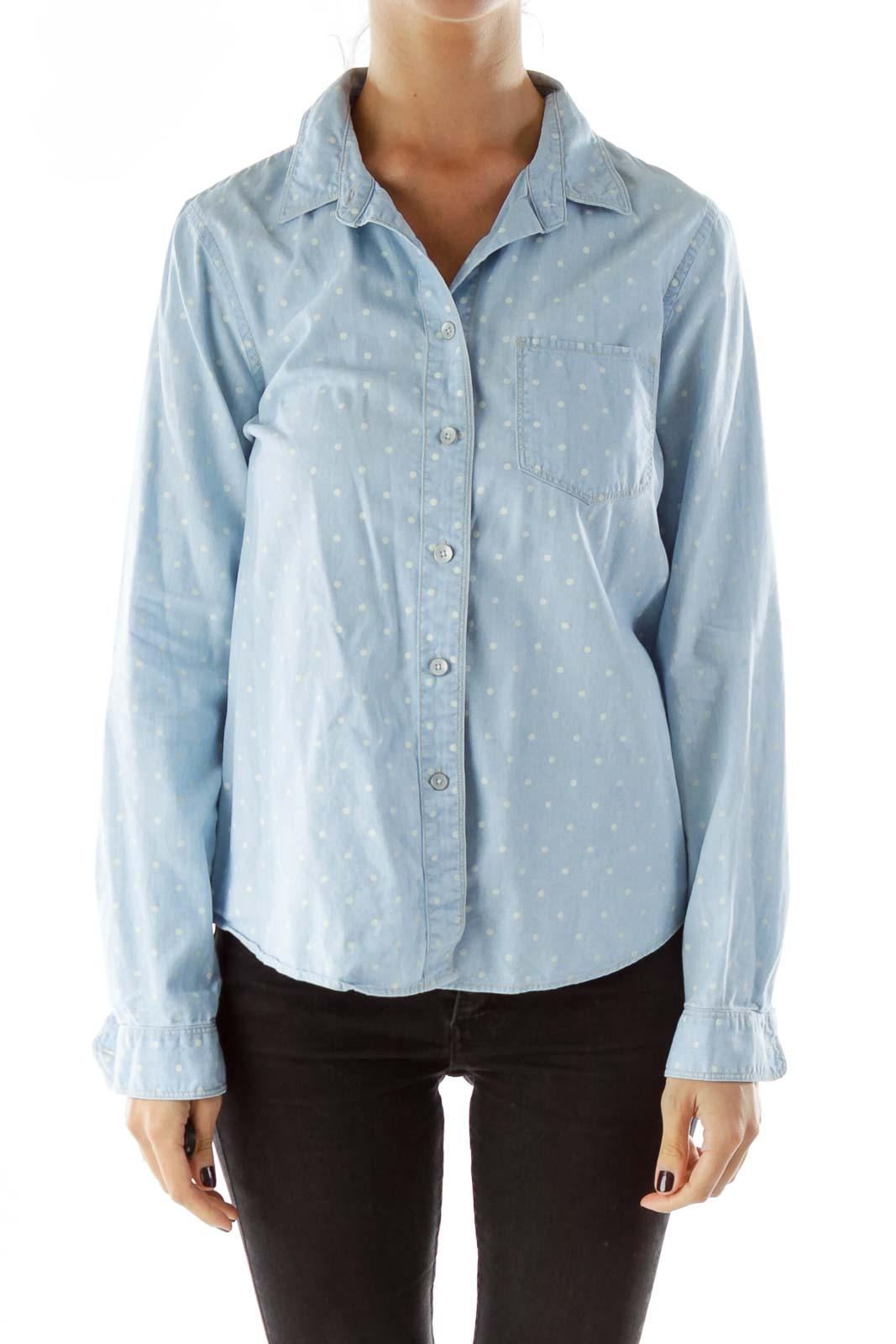 Baby Blue Polka-Dot Pocketed Cotton Shirt
