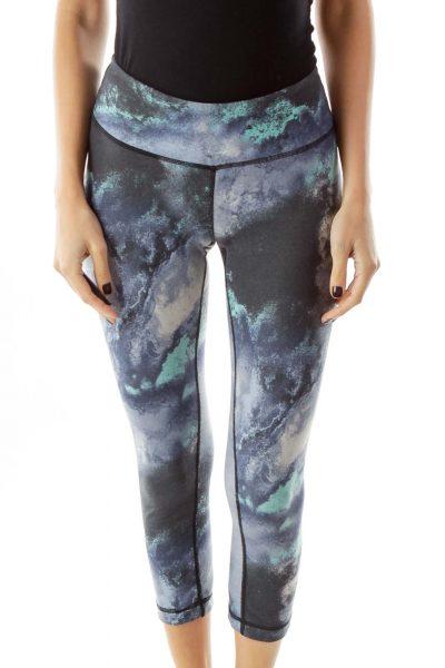 Blue Gray Faux Denim Yoga Pants