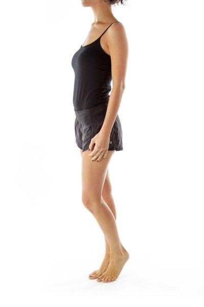 Black Elastic Waist Sports Shorts