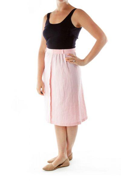 Pink Flared Knee Length Skirt