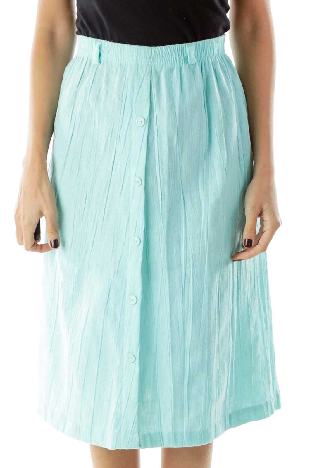 Blue Flared Knee Length Skirt